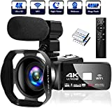 4K Video Camera Ultra HD Camcorder 48MP IR Night Vision Digital Camera WiFi Vlogging Camera with External Microphone and Lens Hood, 3 in Touch Screen