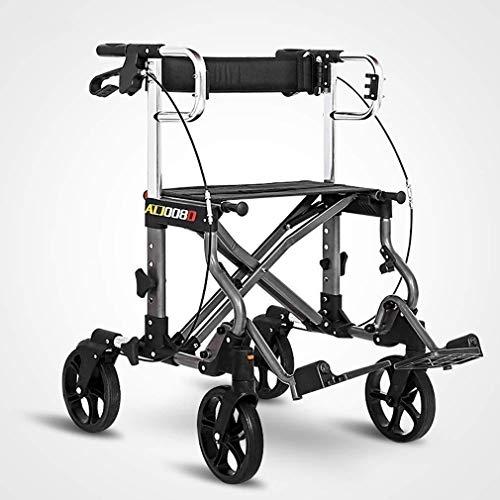 Ouderen walker Medisch Mobility loophulpmiddelen met Seat en Wielen, Inklapbare Walkers for senioren, Rollator met Storage Bag Double Brake System revalidatie walker