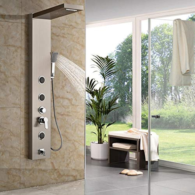 Bad Edelstahl Badewanne Regendusche Panel Regen Massage Einhand-Dusche Wasserhahn Set mit Jets & Handbrause