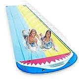 Magicfun Tobogán de Agua, 4.8 x 1.4M Forma de Tiburon Doble Inflable Tobogán de Agua Jardín, Juego Acuático con 2 Tablas de Bodyboard para Niños Diversión al Aire Libre