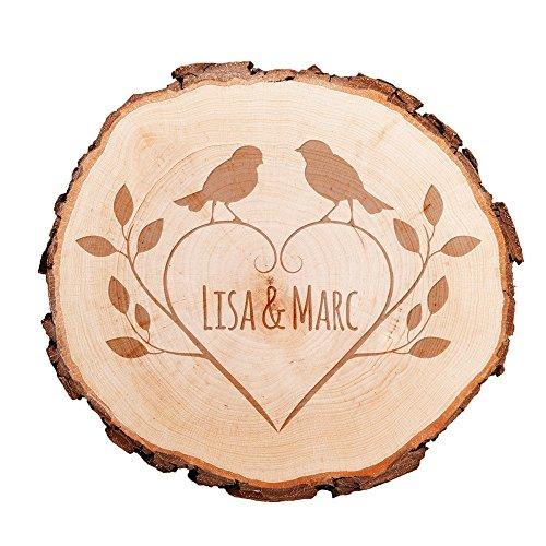 Casa Vivente Baumscheibe mit persönlicher Gravur – Vögel und Herz – Personalisiert mit [Namen] – Türschild – Wanddeko – Hochzeitsgeschenk, Geschenk für Freundin zum Valentinstag
