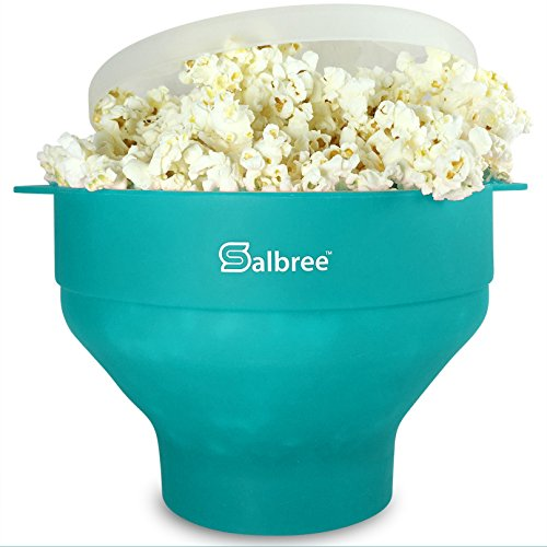 Original Salbree Microwave Popcorn Popper, Silicone Popcorn Maker, Collapsible Bowl - The Most Colors Available (Aqua)