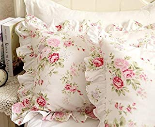 FADFAY Shabby Pink Rose Floral Print Pillowcases Elegant Country Style Vintage Lace Ruffles Bedding Pillow Covers Standared Size 19