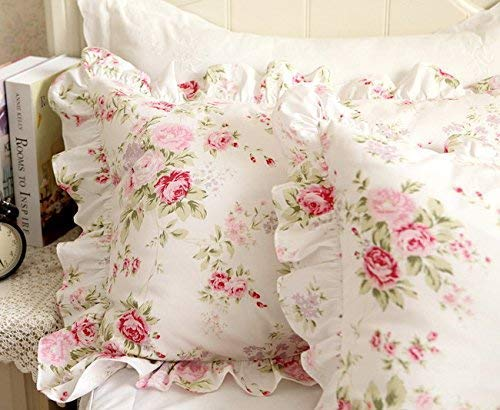 "FADFAY Shabby Pink Rose Floral Print Pillow Shams Elegant Country Style Vintage Ruffles Bedding Pillow Covers Standared Size 19"" x 29"""