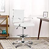 New Drafting Chair - Ergonomic Mid Back Ribbed Leather Office Chair Drafting Chair Adjustable Height Desk Chair for Presenter with Armrest Lumbar Support Bar Chair (White)