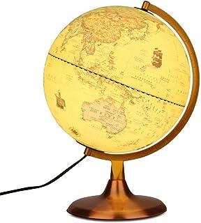 Globes for Children, Illuminated World Globe– Built-in LED Light Illuminates for Night View Vintage Desktop Rotating Night...