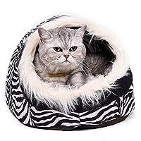 犬小屋 冬の暖かい猫洞窟ベッドドッグハウス、ソフト子犬ケンネルシェルター犬のベッド (Color : Black)