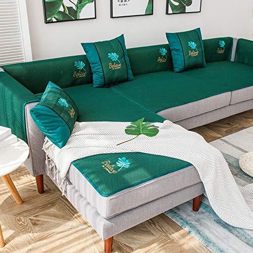 YUTJK Cubierta de Sofa de Mat de Verano Bordado,Antideslizante Funda De Sofá,Funda Cubre Sofá Color Sólido,Funda para Sofá Forma L,Toalla De Sofá Cuatro Estaciones,Verde 2_80×120cm