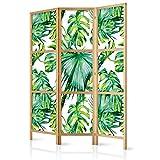 murando - Biombo Tropical Hojas Monstera 135x171 cm 3 Paneles Lienzo de Tejido no Tejido Tela sintética Separador Madera Design Moda Hecho a Mano Home Office Japón b-B-0295-z-b
