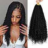 7 Packs Crochet Box Braids Hair with Curly Ends 12 inch Goddess Box Braids Crochet Hair 3X Bohemian Braiding Hair for Black Women(12 Inch, 1B)