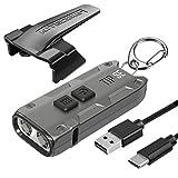 Nitecore Tip SE Gray 700 Lumen USB-C Rechargeable EDC Keychain Flashlight with Lumentac Charging Cable