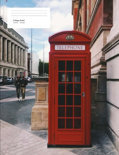 College Ruled Composition Notebook - 150 Pages - London Telephone Box