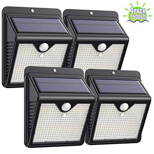 Solar Lights Outdoor [4Pack - 150LED Super Bright] Solar Security Lights Motion Sensor Lights IP65 Waterproof Wireless Wall Lights Solar Powered Lights for Garden Patio Yard Deck Garage Fence Pool