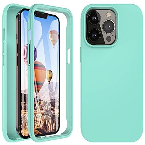 Kuaguozhe Funda compatible con iPhone 13/12 Pro Max, funda protectora de 360 grados con protector de pantalla integrado, PC y TPU Bumper Case de silicona para iPhone 13/12 Pro Max (verde menta)