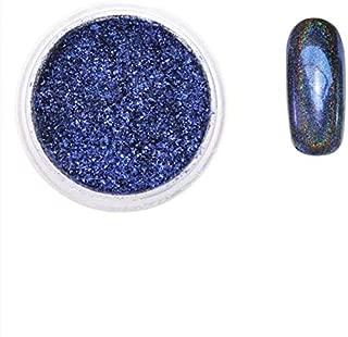 New Nail Art Magic Color Peacock Mirror Powder Nail Art Decorative Shiny DIY Art Glitter Powder 8 Color(Deep Blue) lsmaa (Color : Deep Blue)