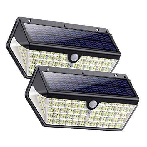 Solar Lights Outdoor, Upgraded 2 Pack 266 LEDs Wireless Motion Sensor Light 3 Modes Security Lighting Wall Lights,IP65 Waterproof Easy-to-Install with 270°Angle Night Light for Front Door, Step Stair ard, Garage, Deck---2 Pack