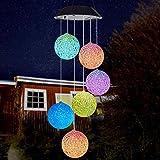 MOPOIN Solar Windspiel, Solarlicht Windspiele Licht, Farbwechsel LED Hängelampe Licht Windspiel Hofdekorationen Gedenkwindspiele Gartenlampen Solar für Outdoor Indoor Gardening