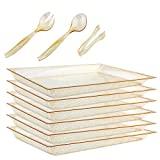 "WELLIFE 24 Pack Plastic Gold Glitter Serving Tray with Disposable Utensils, 6 Rectangle Platter 15"" x 10"", 6 Serving Spoons 10"", 6 Serving Forks 10"", 6 Serving Tongs 6.3"", Perfect for Buffet & Parties"