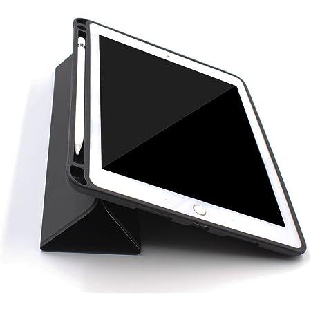 PINHEN For iPad Pro 12.9 ケース Apple Pencil収納 スタンド機能 Pinhen 12.9インチ iPad Pro 保護カバー シンプル 三つ折タイプ 全面保護型 傷つけ防止保護カバーペンホルダー付き iPad Pro12.9用 (12.9, Black)