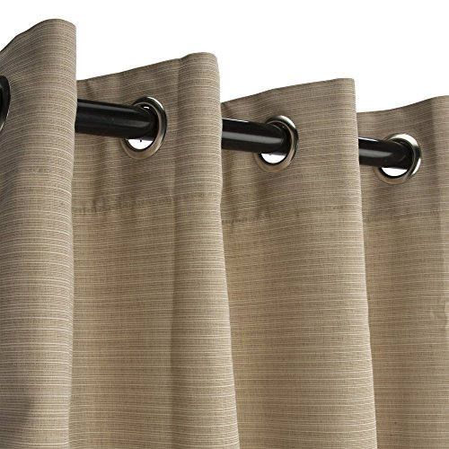 Sunbrella Outdoor Curtain with Grommets -Nickle Grommets-Dupione Sand