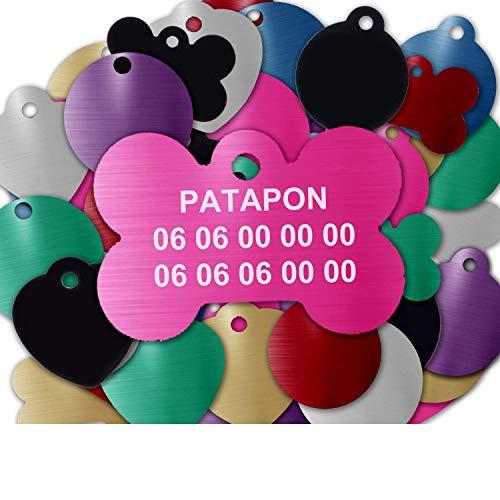 Gravure Concept Médaille pour Chien Et Chat À Personnaliser – Médaillon Gravé 31 mm - 1 à 3 Lignes – 8 Couleurs Disponibles (Rose, Os)