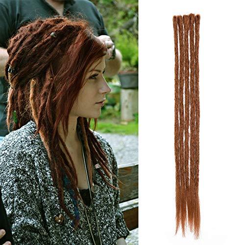 Dreadlock Extension Sintético Hair Dread Extension Rasta para trenzas largas Trenzas Trenzas para el cabello Fibras 50cm para Mujer Hombre, Paquete de 5, Castaño claro