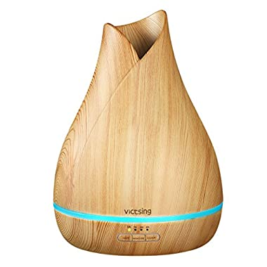 VicTsing 500ml Aromatherapy Essential Oil Diffuser, Ultrasonic Aroma Cool Mist Humidifier with Reduce Noise Design, 7 Colors LED Lights and Waterless Auto Shut-off for Home Office Bedroom -Wood Grain
