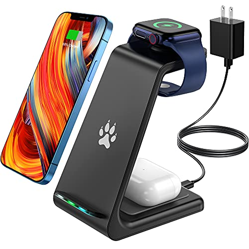 POWLAKEN Wireless Charging Station, 3 in 1 Fast Wireless Charger Charging Stand Compatible with Apple Watch Series Se 6 5 4 3 2, Airpods Pro/2, iPhone 12 Pro max,12,11 Pro,11,Xs max,Xr,X,8 (Black)
