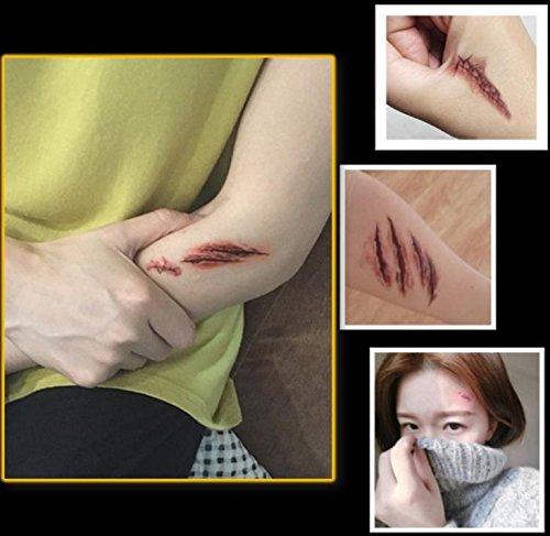 『MAHORA タトゥーシール 15種類 15枚セット 傷 縫合 ゾンビ コスプレ 特殊メイク用小物 BY-0015 (15枚入)』の4枚目の画像