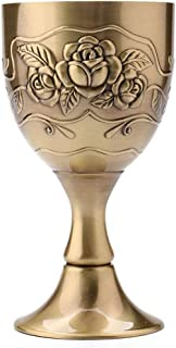 Wine Cups 1 oz Shot Glass 3.5 oz Liqueur Goblet Hand-Made Vintage Pure Copper Engraving Flower Pattern Chalice for Drinkin...