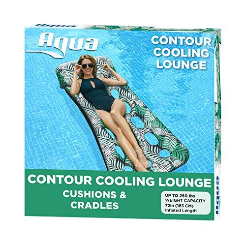 Aqua 18-Pocket Inflatable Contour Lounge, Luxury Fabric, Suntanner Pool Float, Heavy Duty, Teal...