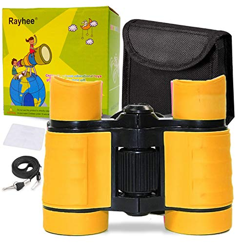 Rayhee Rubber 4x30mm Toy Binoculars for Kids - Bird Watching - Educational Learning - Hunting - Hiking - Birthday Presents - Gifts for Children - Outdoor Play (Orange)
