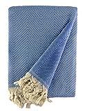 BOHORIA® Tagesdecke extra groß 170 x 230cm   100prozent Baumwolle   Überwurf für Sofa, Sessel und Bett   Kuscheldecke Sofadecke Wolldecke (Navy Blue)