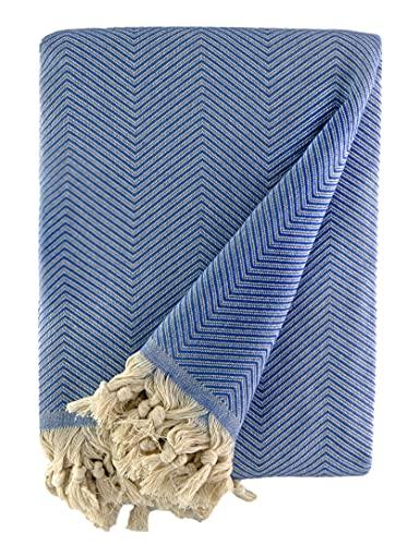 BOHORIA® Tagesdecke extra groß 170 x 230cm | 100% Baumwolle | Überwurf für Sofa, Sessel & Bett | Kuscheldecke Sofadecke Wolldecke (Navy Blue)