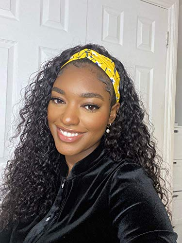 LUVME Hair Wet and Wavy Headband Wig Water Wave Human Hair Wig For Black Women Glueless None Lace Front Easy and Convenient 150 Density (16 Inch)