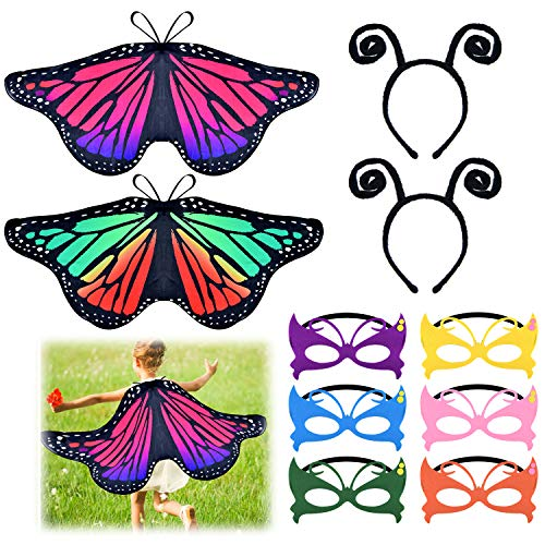 Coopay 10 Pieces Kids Butterfly Wings Costume with Masquerade Mask Antenna Headband for Kids Halloween Party(Rainbow and Rose)