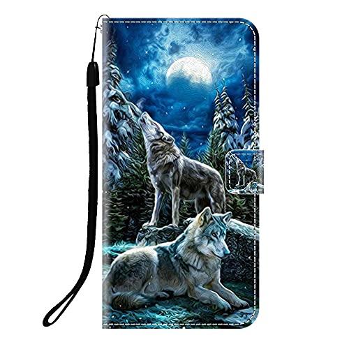 Sunrive Kompatibel mit Lenovo ZUK Z2 Pro Hülle,Magnetisch Schaltfläche Ledertasche Schutzhülle Etui Leder Hülle Handyhülle Tasche Schalen Lederhülle MEHRWEG(Q Wolf 1)