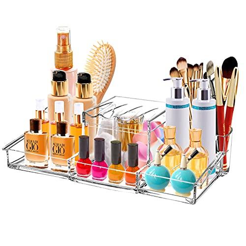 Make-up Organizer mit Wattestäbchenhalter, Ubitree Acryl Kosmetik Aufbewahrungsvitrine für Schönheitsartikel, Wattestäbchen Organizer mit Deckel für Badezimmer, Kommode, Waschtisch und Arbeitsplatte