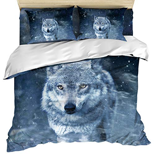 Luxury 4 Piece Bedding Set Queen Size, Wolf Coming in The Snow Duvet/Comforter/Quilt Cover Set with Bed Sheet Pillow Shams for Kids/Teens/Adults/School