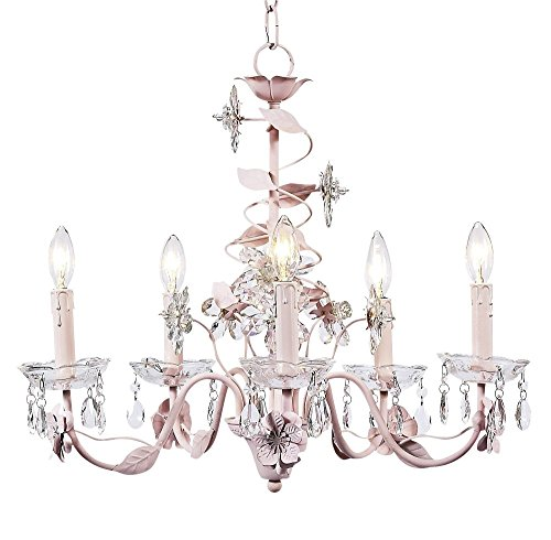Jubilee Collection 7306 5 Arm Crystal Flower Chandelier, Pink