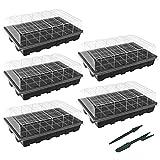 Gardzen 5-Set Garden Propagator Set, Seed Tray Kits with 200-Cell,...