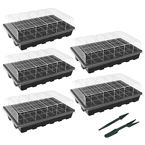 Gardzen 5-Set Garden Propagator Set, Seed Tray Kits With 200-Cell, Seed Starter Tray With Dome And Base 15' X 9' (40-Cell Per Tray)