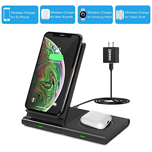 Dual Wireless Charger, COSOOS 2in1 Qi Charging Stand Pad for iPhone 11 Pro/Xs Max/XS/Xr/X/8 Plus,Airpods Pro/2, Samsung S10+/S10/S9+/S9/S8+/S8/S7,Gear 3,Galaxy Buds,Qi Enabled Device(with QC3 Adapter)