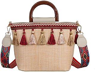 TOOGOO New Vintage Bucket Shape Tote Women Weaving Tassel Shoulder Bag Messenger Bag Crossbody Bags Girls Cute Handle Straw Bags White