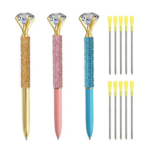 3 Pcs Diamond Pens, Metal Ballpoint Pen With Big Crystal Diamond for Women and Student, Gold Pink and Blue,School and Office Supplies,Black Ink with10 Replacement Refills By YWSYC (3Pcs)