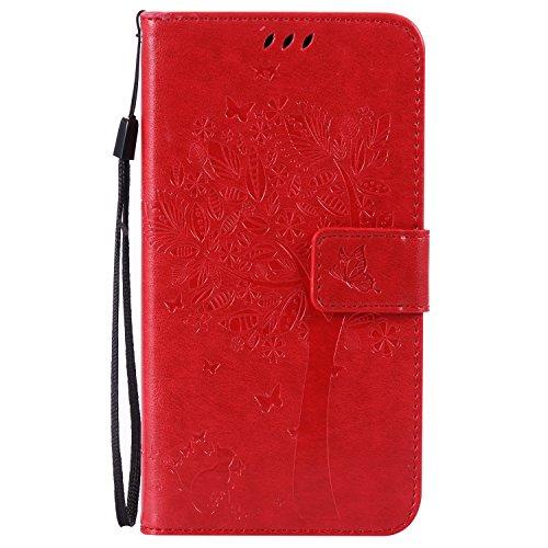 ISAKEN LG G4 Hülle, PU Leder Geldbörse Wallet Hülle Ledertasche Handyhülle Tasche Schutzhülle Hülle Etui mit Handschlaufe Strap Standfunktion Karte Halter für LG G4 - Baum Katze Rot