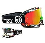 TWO-X Race Crossbrille Villain bunt Glas verspiegelt Iridium MX Brille Motocross Enduro Spiegelglas...
