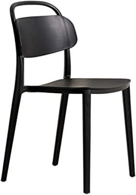 Casual Plastic Back Home Dining Chair Cold Drink Shop Cafe Chair Bearing Weight 250Kg Anti-Fall Anti-Aging,Black