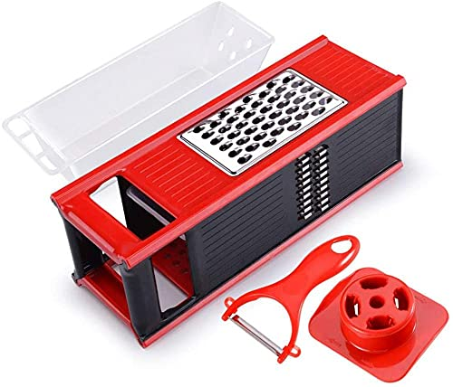 Home Vegetable Slicer Onion Chopper Veggie Cutter Shredder with Safety Handle and Peeler Multi Blade Chopper-A_Red