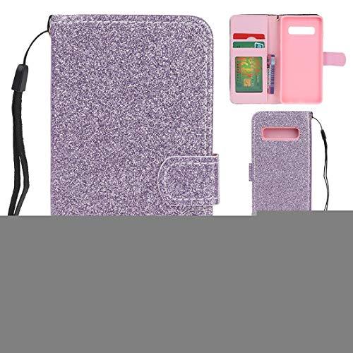 MDYHMC YXCY AYDD para Samsung Galaxy S10 Plus Glitter Powder Horizontal Flip Funda de Cuero con Ranuras y Soporte para Tarjetas y Marco de Fotos y Billetera (Color : Purple)